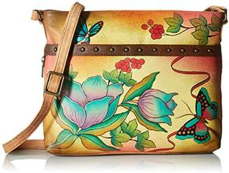 Anuschka Anna by Women's Genuine Leather Crossbody Organizer | Hand-Painted Original Artwork |