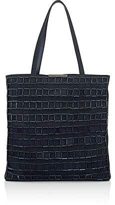 Amalfi by Rangoni Tomasini Women's Square-Detailed Suede Tote Bag - Navy