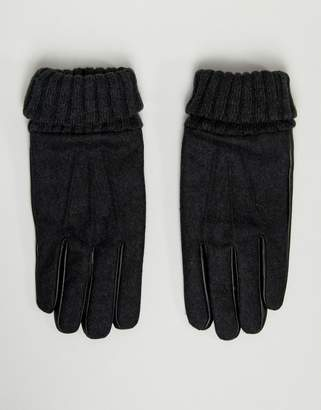 Asos DESIGN leather touchscreen gloves in gray melton with cuff detail