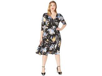 Unique Vintage Plus Size Floral Wrap Dress