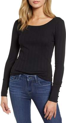 Hinge Pointelle Knit Button Cuff Top