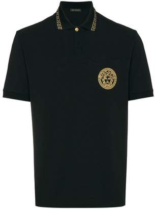 Versace Medusa embroidered polo shirt