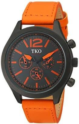 TKO Men's Matte Black Case Rugged Aviator Watch Orange Leather Military Watch TK650OR