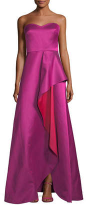 Badgley Mischka Strapless Sweetheart Contrast Ruffle Gown