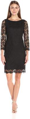 Tiana B Women's Floral Chemical Lace Sheath Dress, 3/4 Sleeves