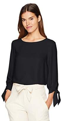 Nine West Women's Jewel Neck Crepe Blouse with 3/4 Bow Sleeve Detail
