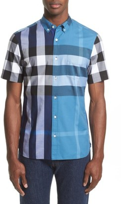 Men's Burberry Sawick Trim Fit Short Sleeve Check Sport Shirt $285 thestylecure.com