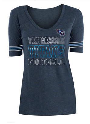5th & Ocean Women's Tennessee Titans Tri Blend Foil Sleeve Stripe T-Shirt