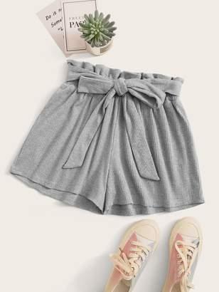 Shein Solid Wide Leg Belted Paperbag Shorts