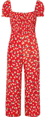 Faithfull The Brand Della Smocked Floral-print Crepe Jumpsuit - Red
