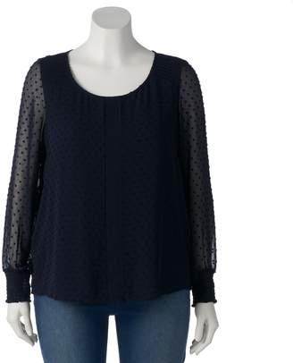 Lauren Conrad Plus Size Chiffon Sleeve Top