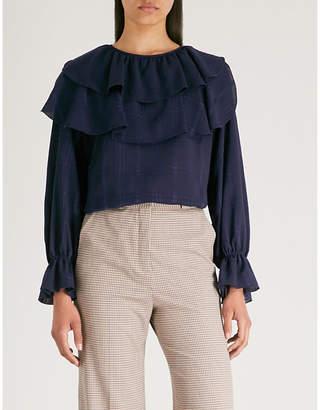 See by Chloe Checked ruffled satin blouse