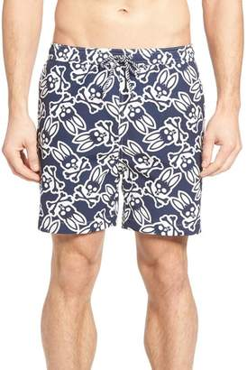 Psycho Bunny Graphic Print Swim Trunks