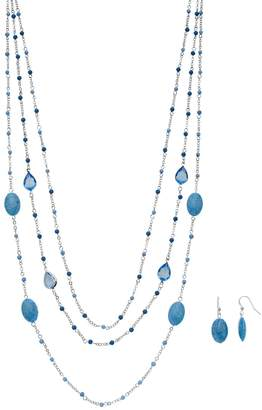 Blue Bead Multi Strand Necklace & Drop Earring Set