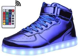 MOHEM ShinyNight High Top LED Shoes Light up USB Charging Flashing Sneakers(1687003ShiningBlue38)