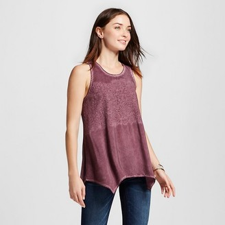 Knox Rose Women's Oil Wash Tank with Embroidery $22.99 thestylecure.com
