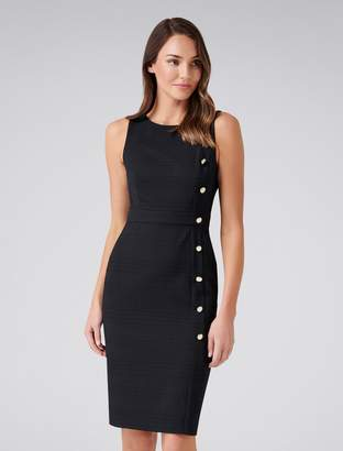 Forever New Bianca Button Dress - Black - 4