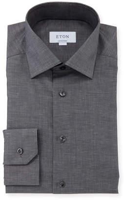 Eton Men's Contemporary-Fit Cotton/Linen Dress Shirt, Charcoal