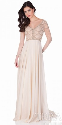 Terani Couture Seashell Embroidered Chiffon Evening Gown $572 thestylecure.com