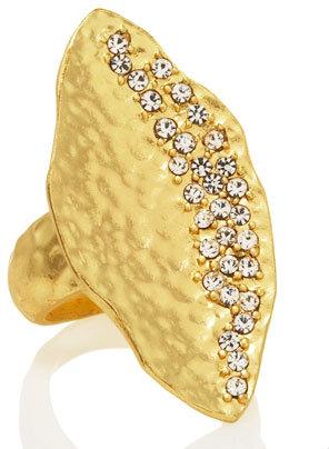 Panacea Pave Hammered Leaf Ring