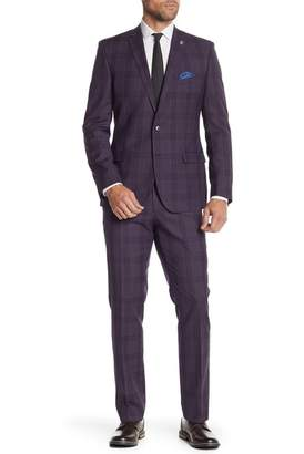 Nick Graham Purple Plaid Stretch Modern Fit Two Button Notch Lapel Suit