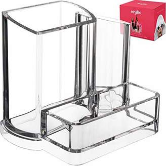 clear Acrylic Bathroom Office Accessories Holder 3 compartment vanity cosmetic storage organizer for toothbrushes jewelry makeup brush lipstick pens pencils scissors & business card desk supplies!