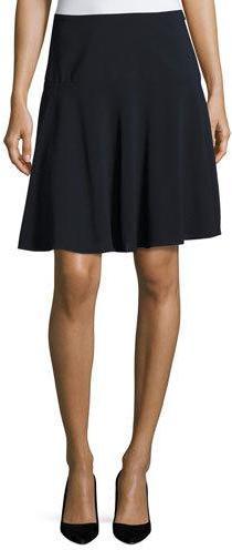 Armani Collezioni Stretch-Wool Flutter Skirt, Midnight
