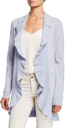 Neiman Marcus Cashmere Ruffled Open-Front Duster Cardigan Light Blue