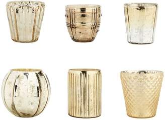 Pottery Barn Eclectic Mercury Votive Holders, Set of 6 - Gold