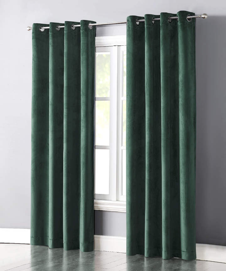 Turquoise Velvet Grace Curtain Panel