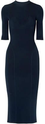 Victoria Beckham Ribbed Stretch-knit Midi Dress