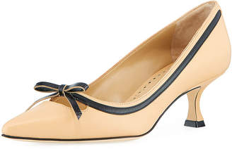 Manolo Blahnik Papac Leather Pump with Bow