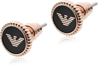Emporio Armani Rose Gold Stainless Steel and Black Enamel Signature Women's Earrings