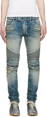 Balmain Blue Destroyed Biker Jeans $1,490 thestylecure.com
