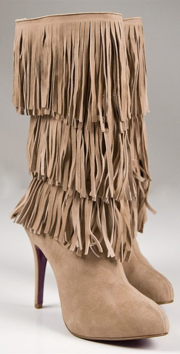 Sergio Zelcer Craft Fringe Boot in Taupe