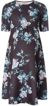 Dorothy Perkins Womens **Maternity Blue Floral Print Fit and Flare Dress