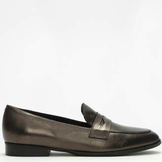 Lamica Bronze Metallic Leather Loafers