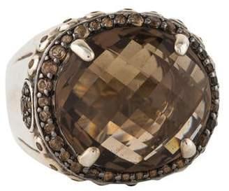 John Hardy Smoky Quartz Batu Bamboo Dome Ring