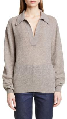 KHAITE Jo Stretch Cashmere Polo Sweater