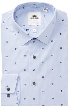 Ben Sherman Stripe & Owl Tailored Slim Fit Dress Shirt