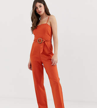 Asos Tall DESIGN Tall strappy pinny belted jumpsuit