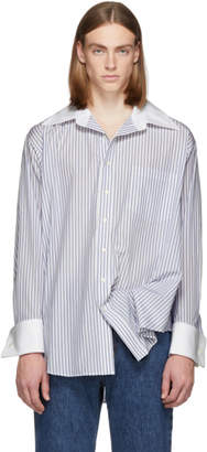 Matthew Adams Dolan White and Blue Oversized Oxford Shirt