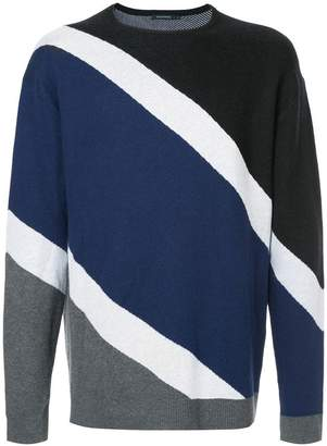 GUILD PRIME striped colour-block sweater