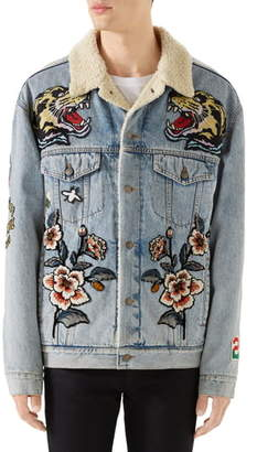 Gucci Fleece Lined Embroidered Denim Jacket