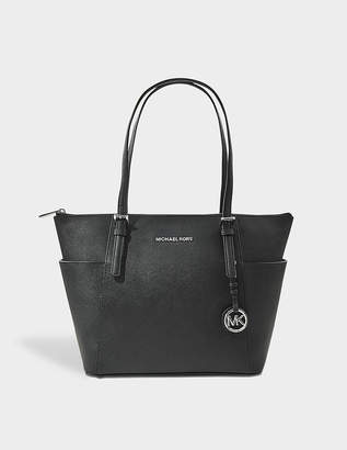 MICHAEL Michael Kors Jet Set Item EW Top Zipped Tote Bag in Black Saffia Leather