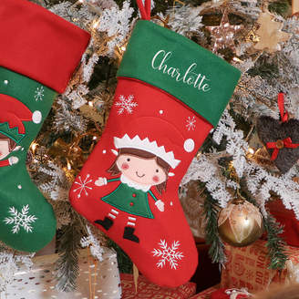 Dibor Personalised Elf Christmas Stocking For Girls