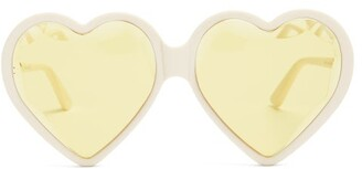 Gucci Heart Shaped Frame Tinted Sunglasses - Womens - Yellow Multi