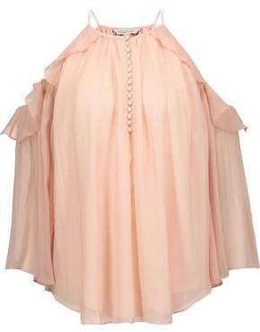 Rachel Zoe Aurora Cold-Shoulder Silk-Georgette Blouse