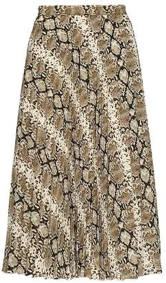 Banana Republic Snake Print Pleated Midi Skirt
