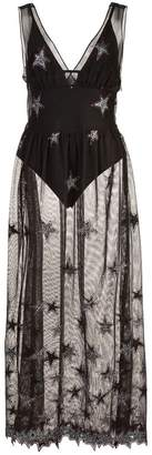 Fleur Du Mal Superstar V-neck mesh dress